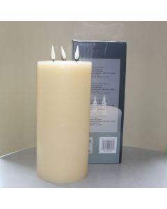 1 SimuFlame LED kaars met 3 vlammen Ivory Aged 15 x 33cm