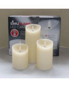 3 SimuFlame LED kaarsen Ivory Aged 7.5 x 10+12.5+18cm