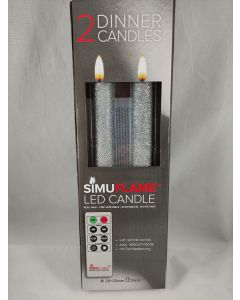 2x LED imitatie kaars op batterijen Zilver Glitter