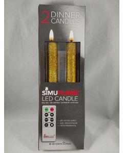 2x LED imitatie kaars op batterijen Goud Glitter
