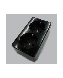 Opbouw stopcontact 2xra zwart